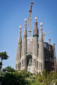 La Sagrada Familia in Barcelona, Spain in the bright afternoon sunlight.