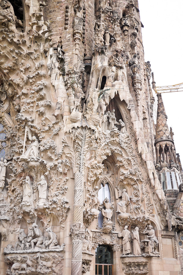 The clear personality in the architecture of the  Nativity façade of La Sagrada Familia in Barcelona, Spain