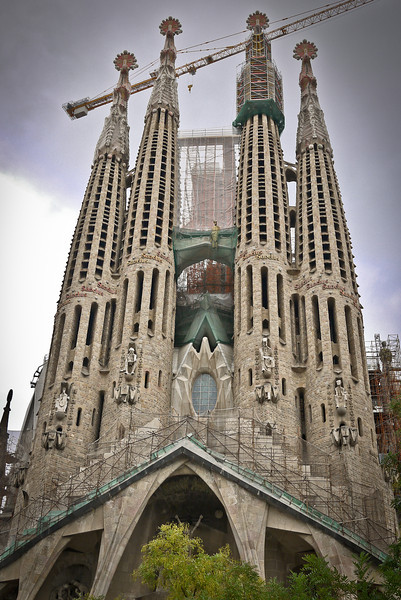 La Sagrada Familia in Barcelona, Spain during a rainy afternoon.