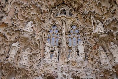 The intricate and ornate Nativity façade La Sagrada Familia in Barcelona, Spain
