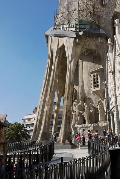 A side view of the Passion façade at La Sagrada Familia in Barcelona, Spain