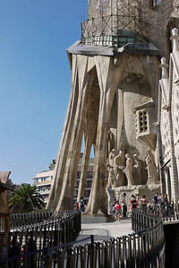 A side view of the Passion façade at La Sagrada Familia in Barcelona, Spain