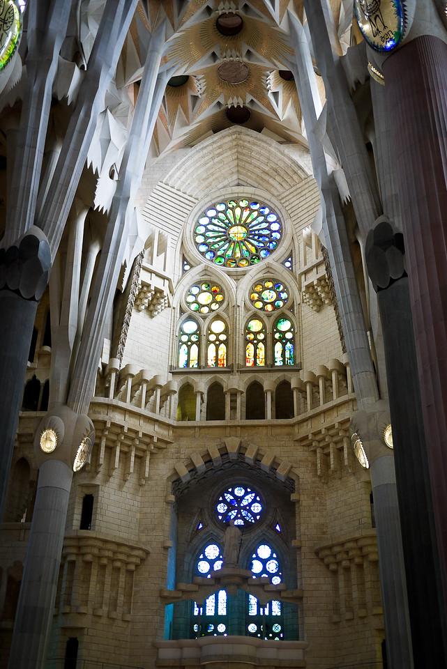 The interior of La Sagrada Familia in Barcelona, Spain