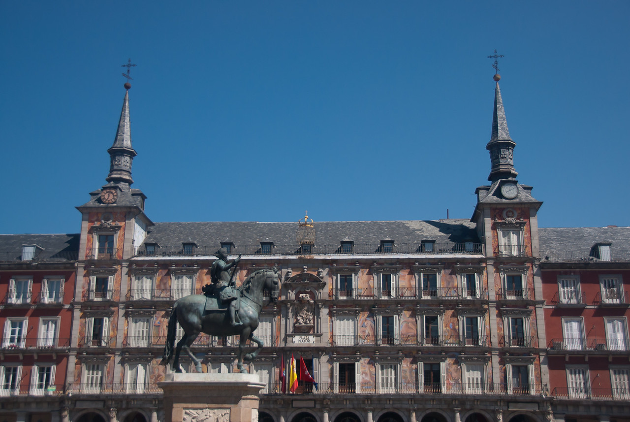 Bronze equestrian statue of King Philip III from 1616 at the Plaza Mayor in Madrid, Spain