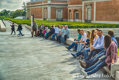 Tourists in front of the Prado, Madrid