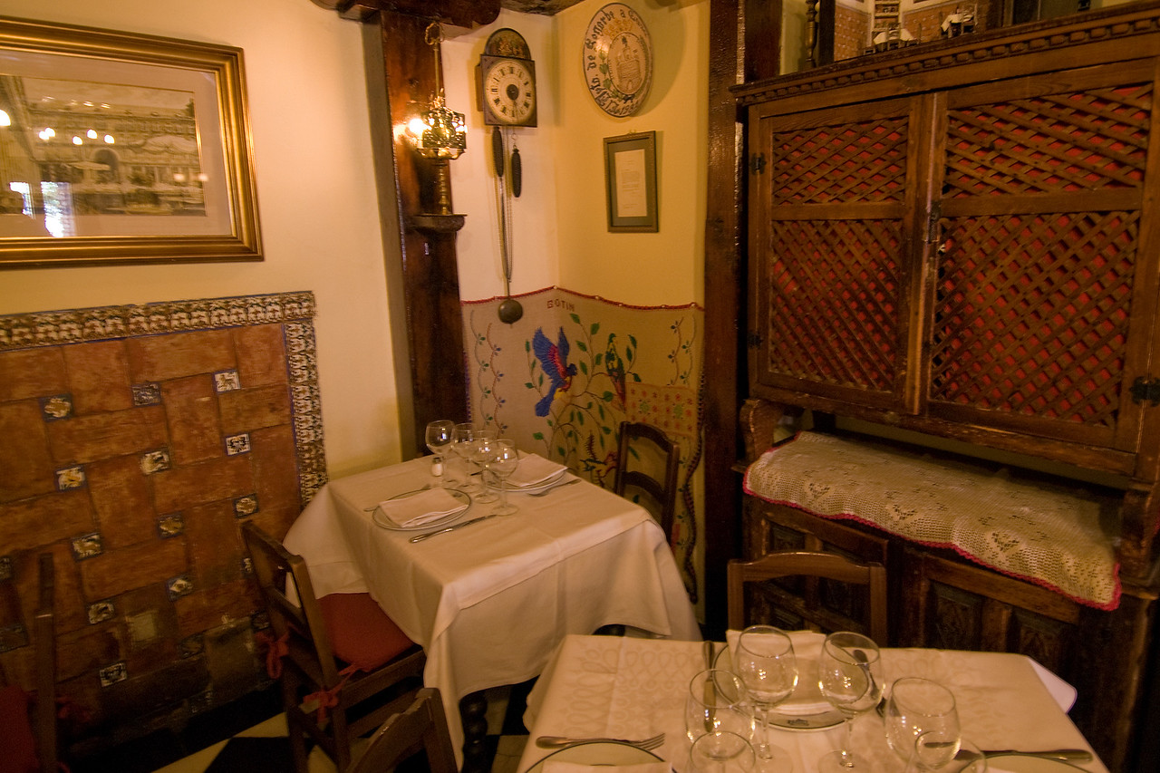 Table setting inside Botin Restaurant in Madrid, Spain