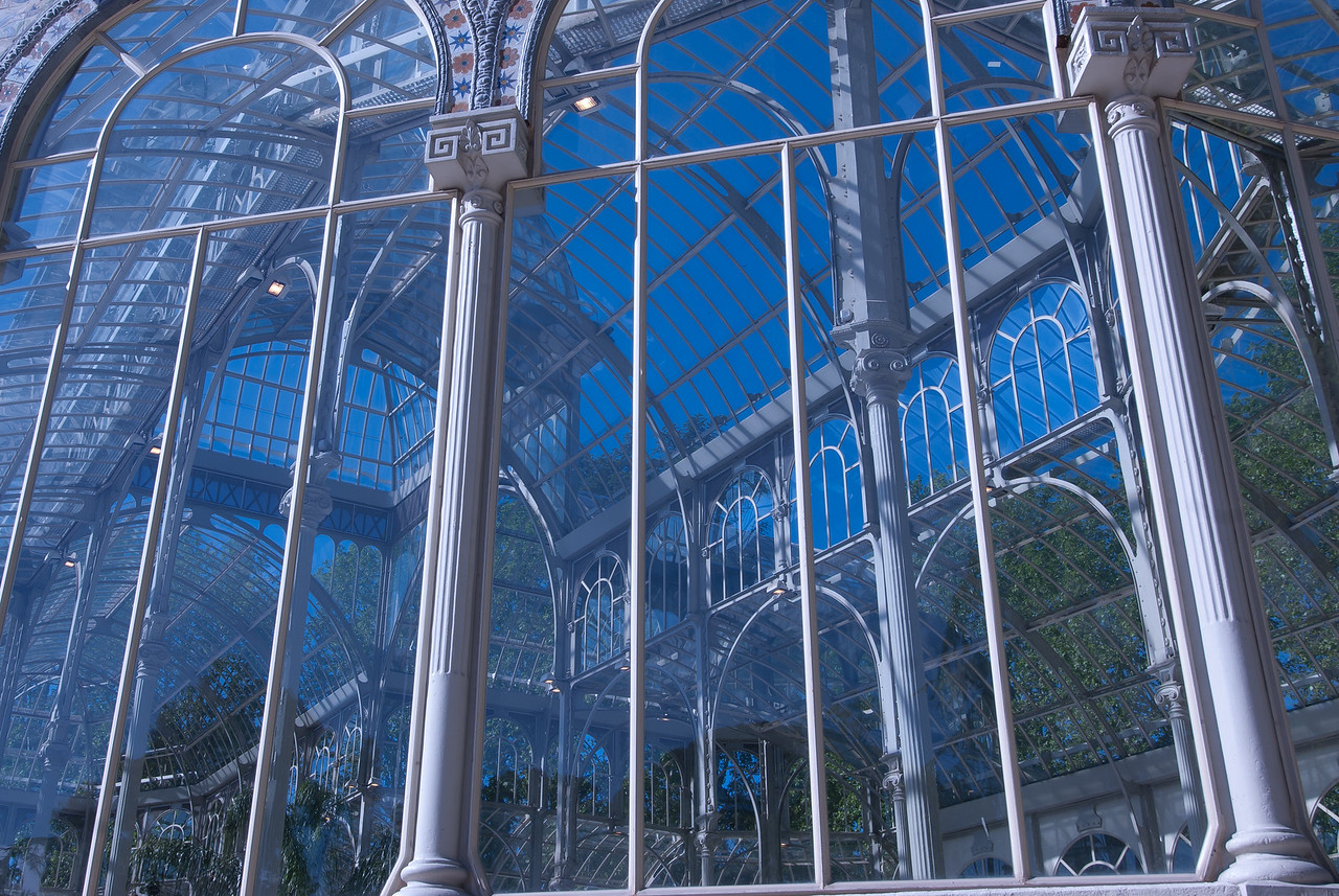 Details of glass walls in Crystal Palace in Madrid, Spain