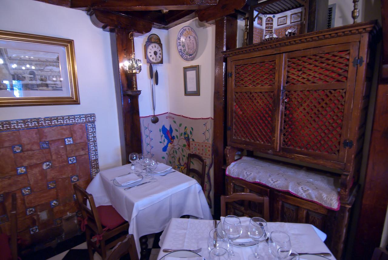 Hemingway's table in Botin Restaurant - Madrid, Spain