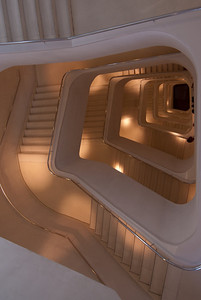 The Central Stairway inside CaixaForum Madrid in Spain