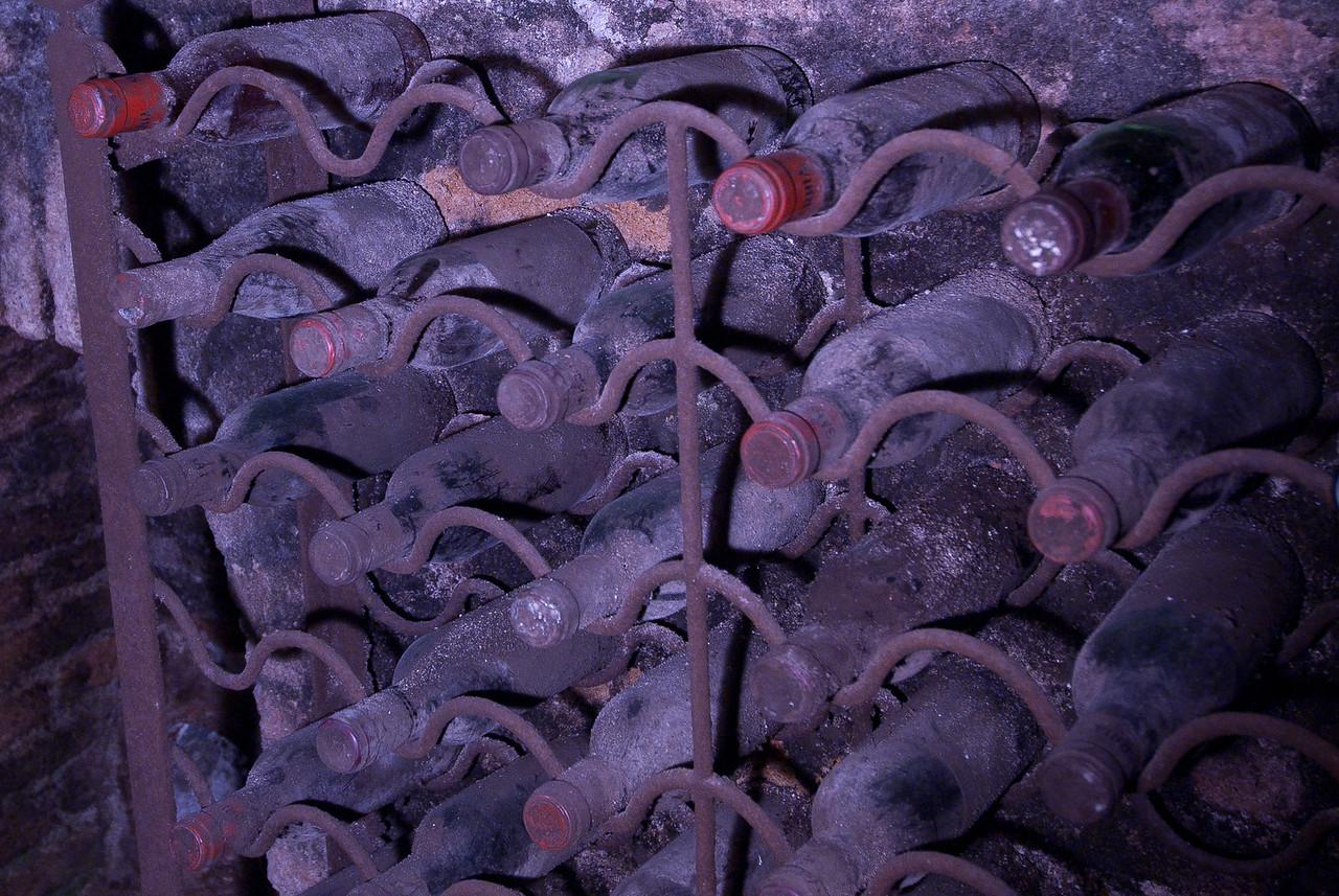 Stack of wine in Botin restaurant in Madrid, Spain