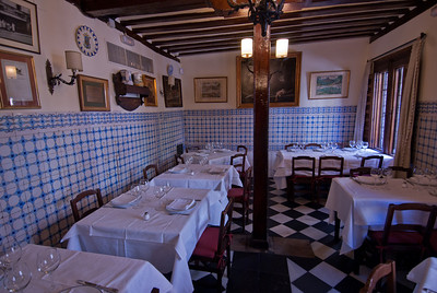 Details inside Botin restaurant in Madrid, Spain