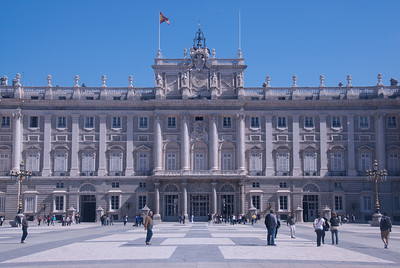 The Royal Palace of Madrid facade in Madrid, Spain