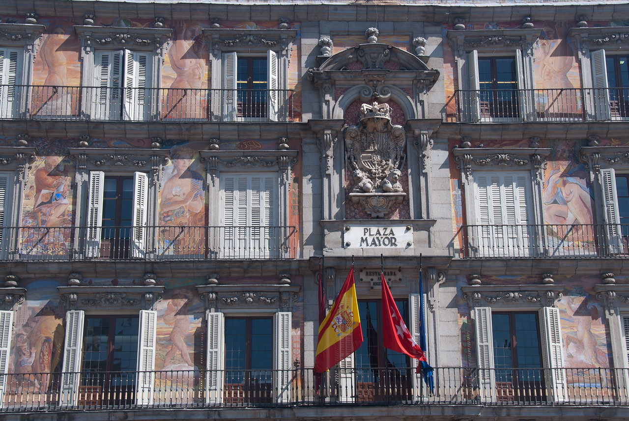 Building in Plaza Mayor in Madrid, Spain
