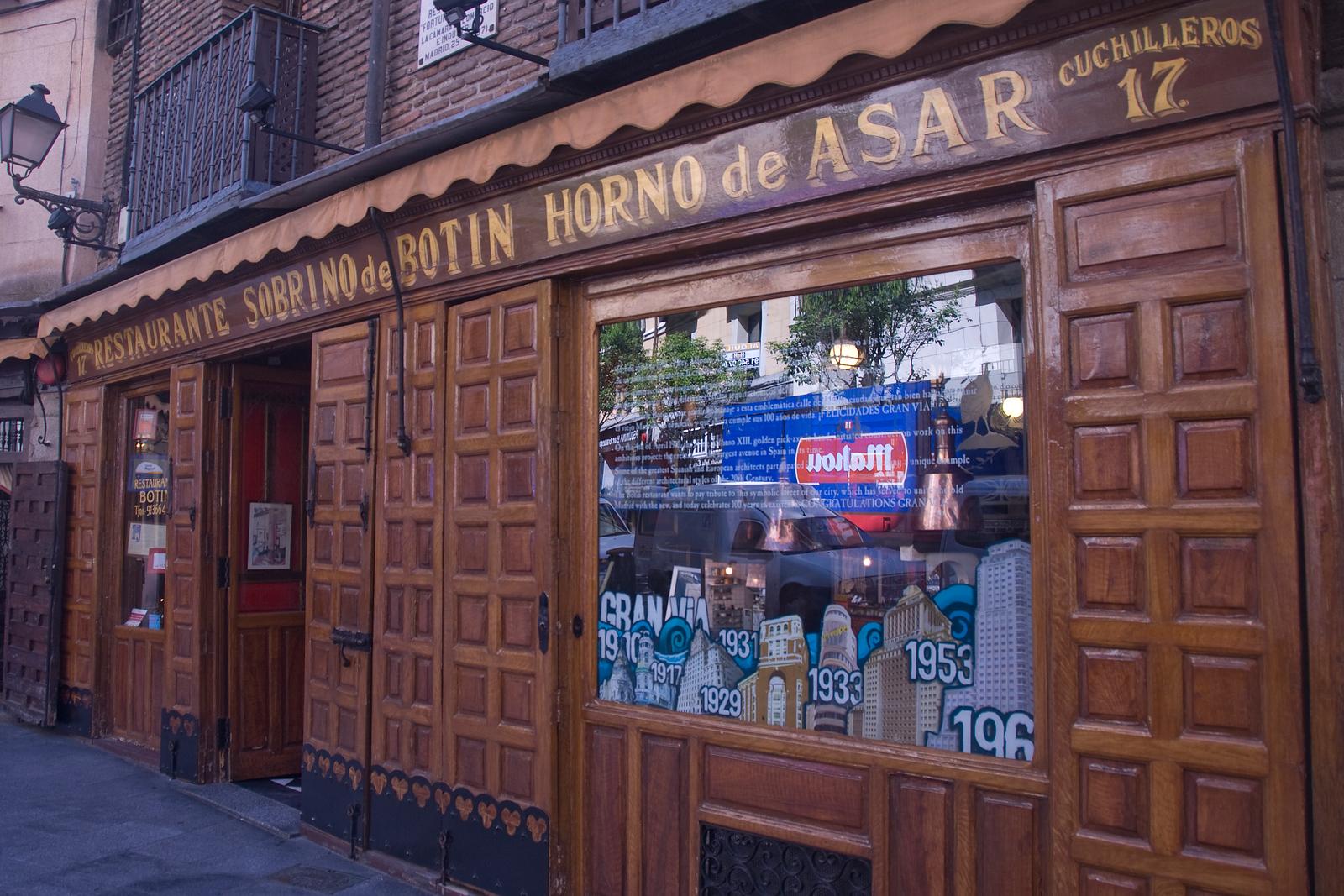 Botin Restaurant facade in Madrid, Spain
