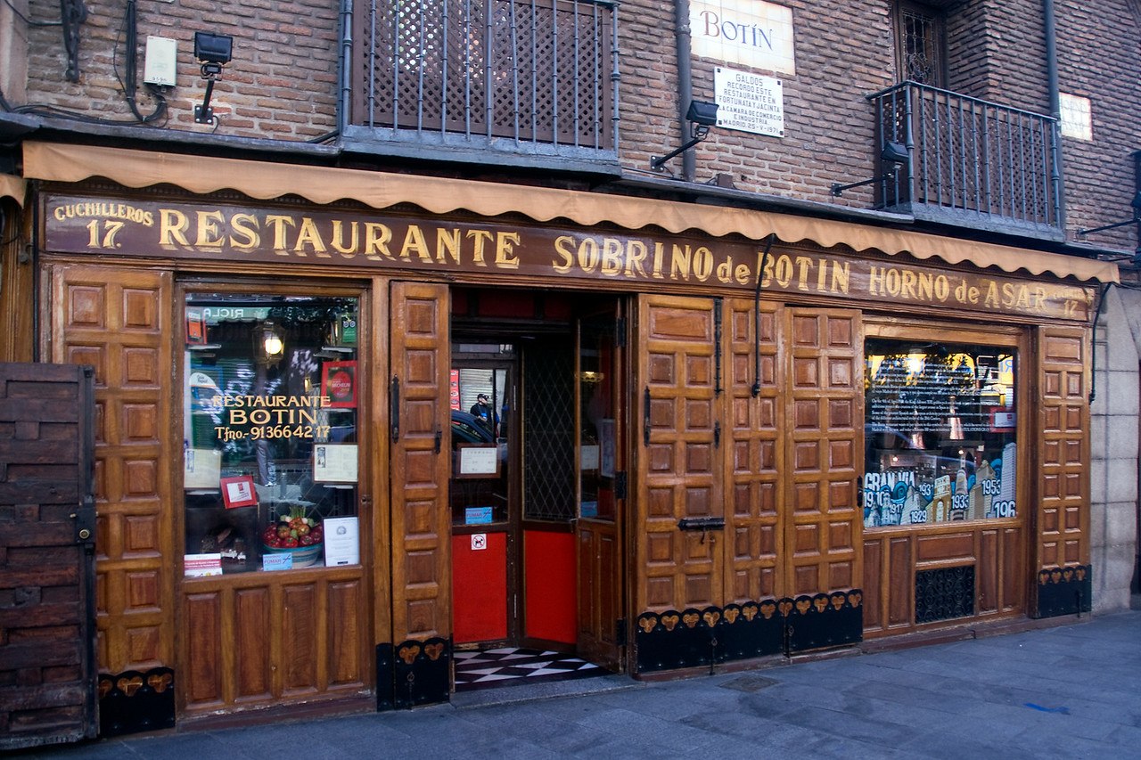 A restaurant facade in Madrid, Spain