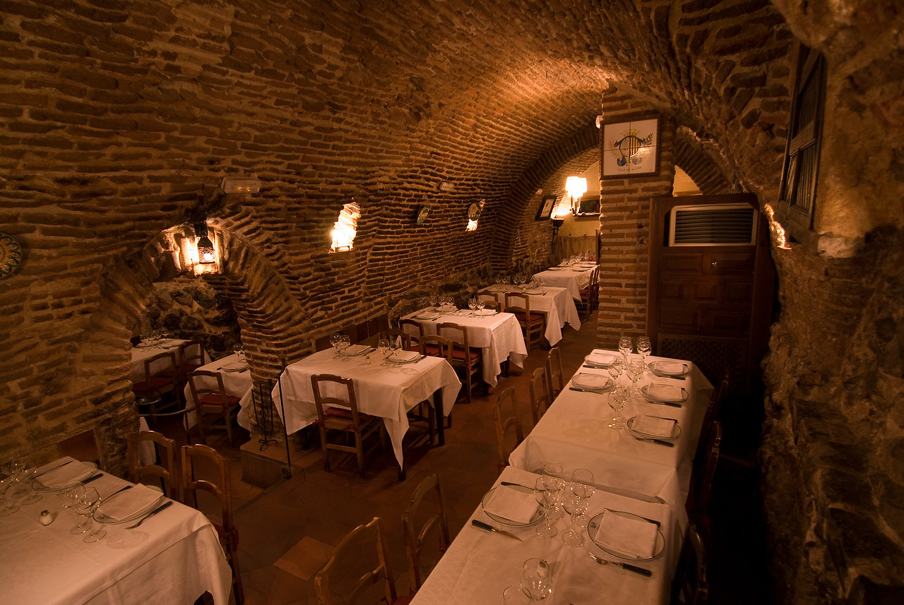 Details of the restaurant interior in Botin Restaurant, Madrid, Spain