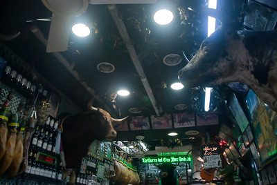 Bull heads inside a bar in Madrid, Spain