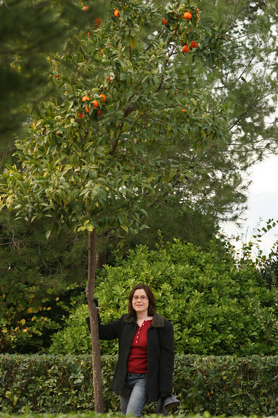 Terri and an orange tree. Montjuic, Barcelona