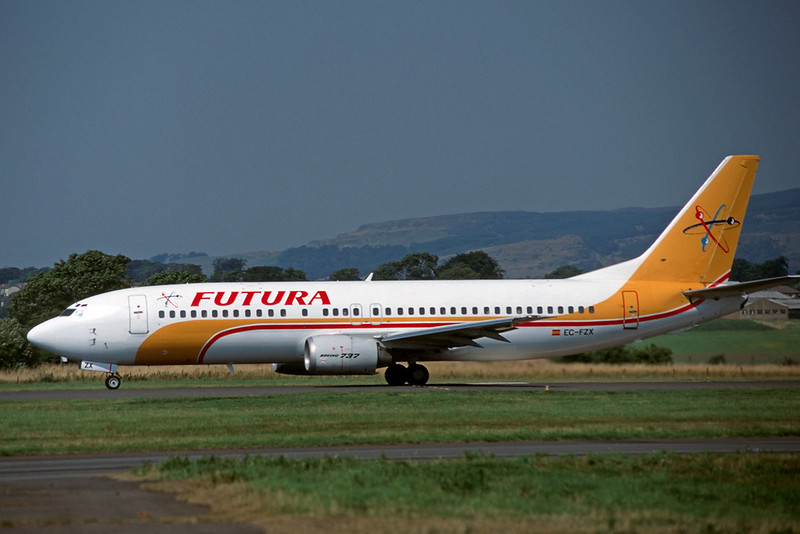 """EC-FZX Boeing 737-4Y0 """"Futura International Airways"""" c/n 24682 Glasgow/EGPF/GLA 11-08-95 (35mm slide)"""