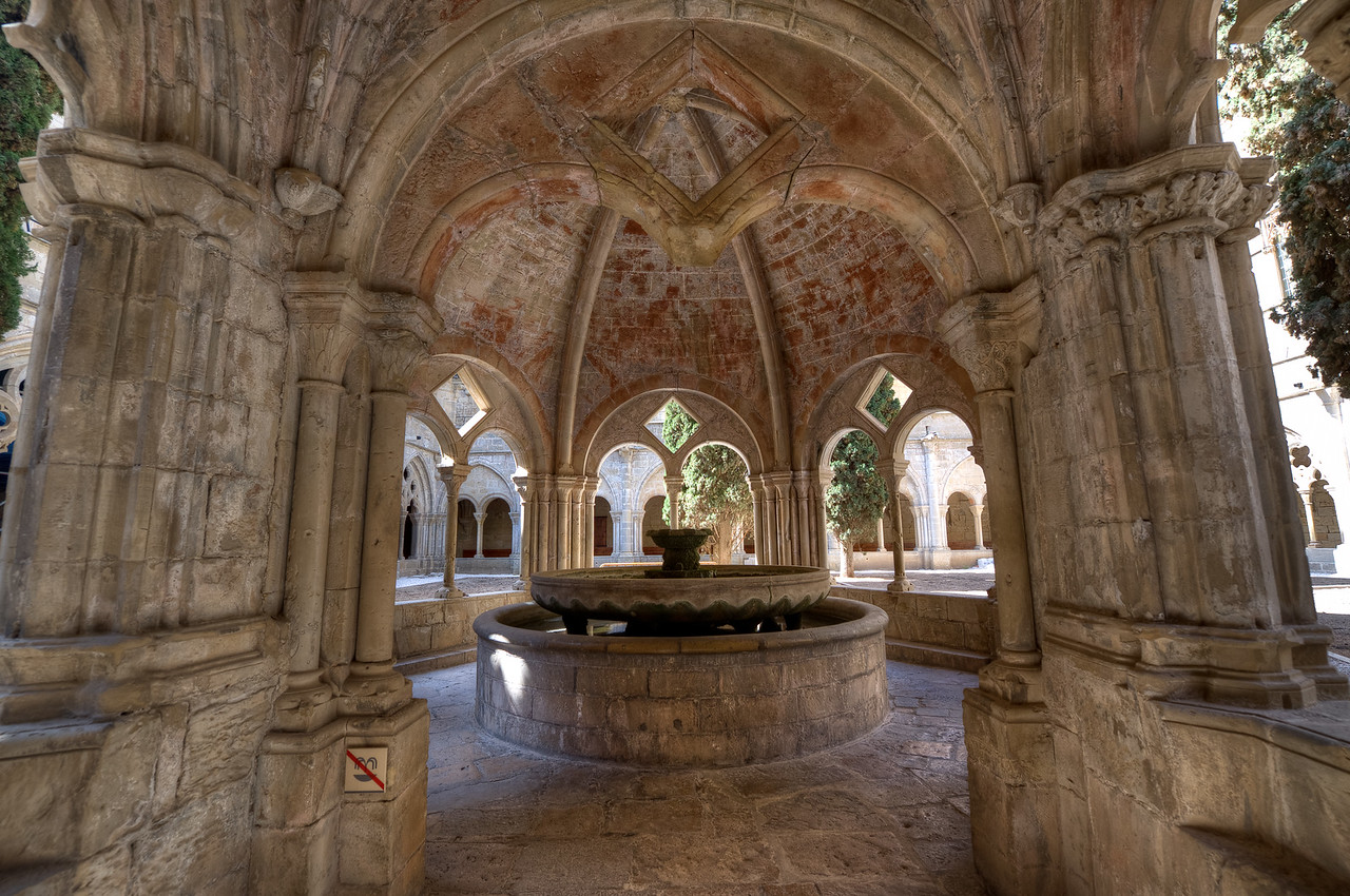 Fountain for ablutions in one of the cloisters in Poblet Monastery in Catalonia, Spain