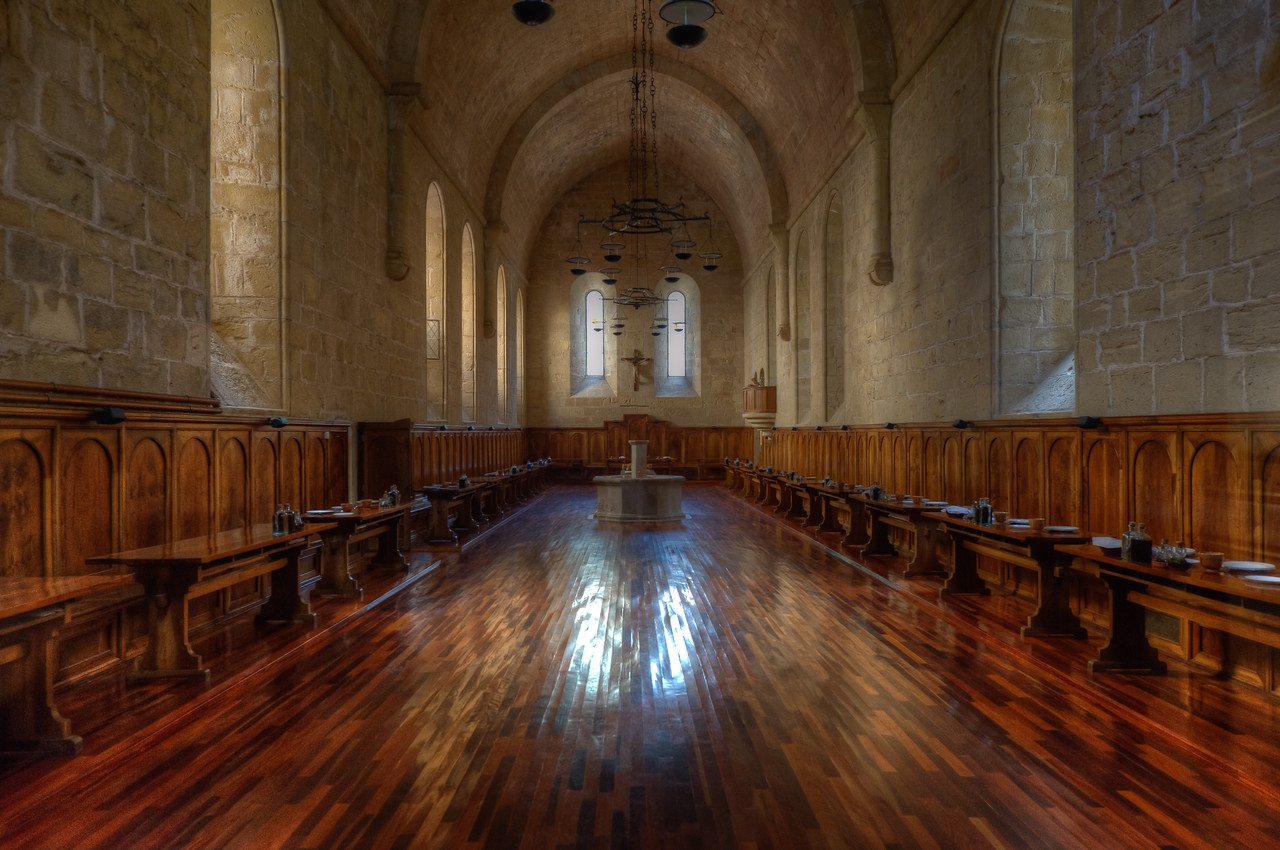 The dining hall of Poblet Monastery in Catalonia, Spain