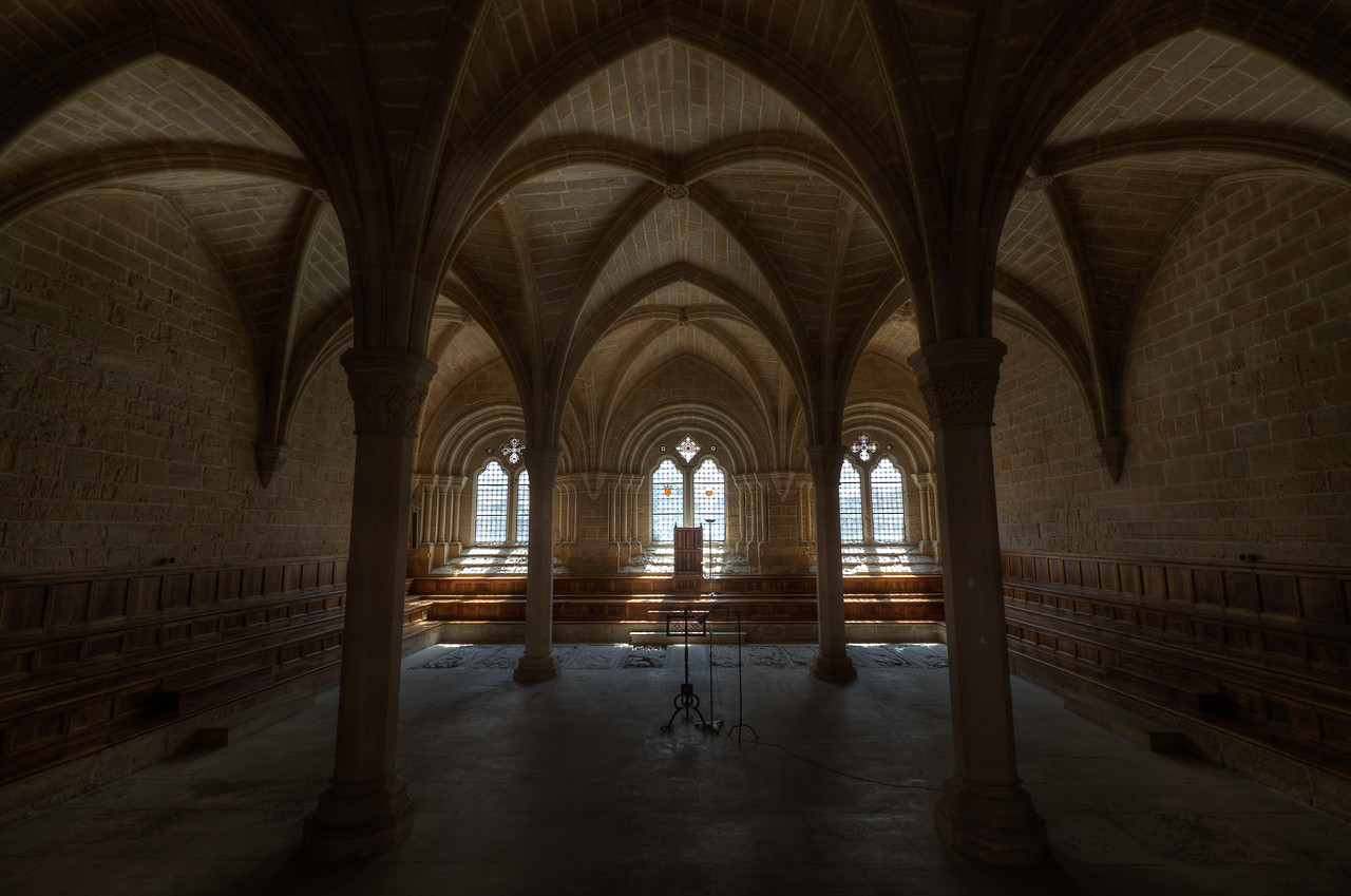 The Gothic arches inside the Poblet Monastery in Catalonia, Spain