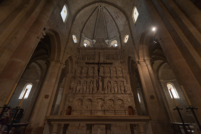The altar piece inside the church in Poblet Monastery - Catalonia, Spain