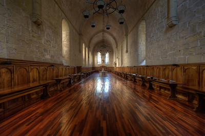 The dining hall of the Poblet Monastery in Catalonia, Spain