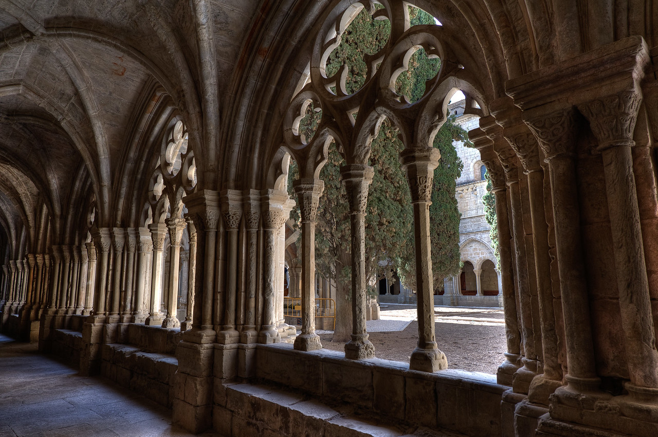 Architectural details of the cloister in Poblet Monastery in Catalonia, Spain