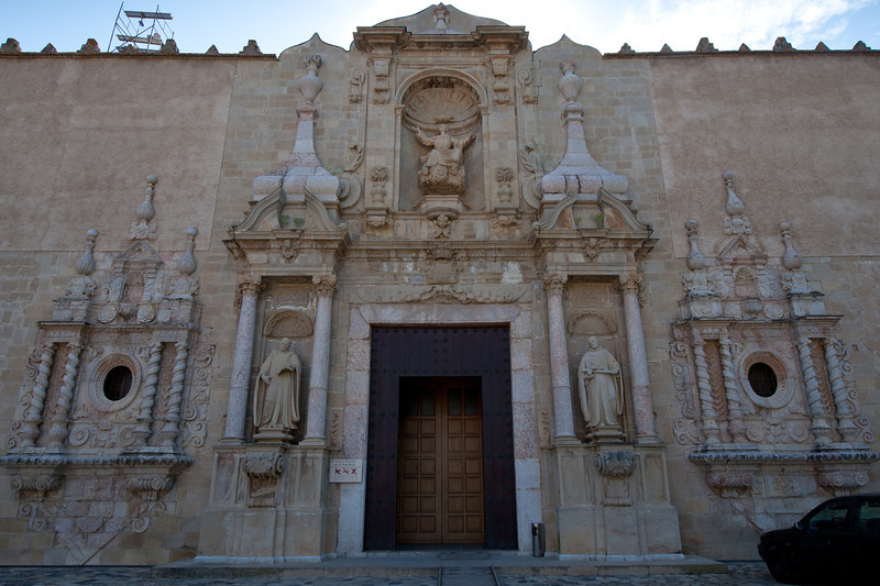 The entrance door to Poblet Monastery in Catalonia, Spain