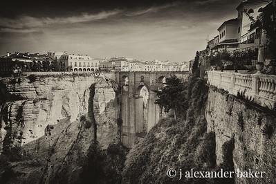 Puente Nuevo Bridge, Ronda Spain - Antique Black & White