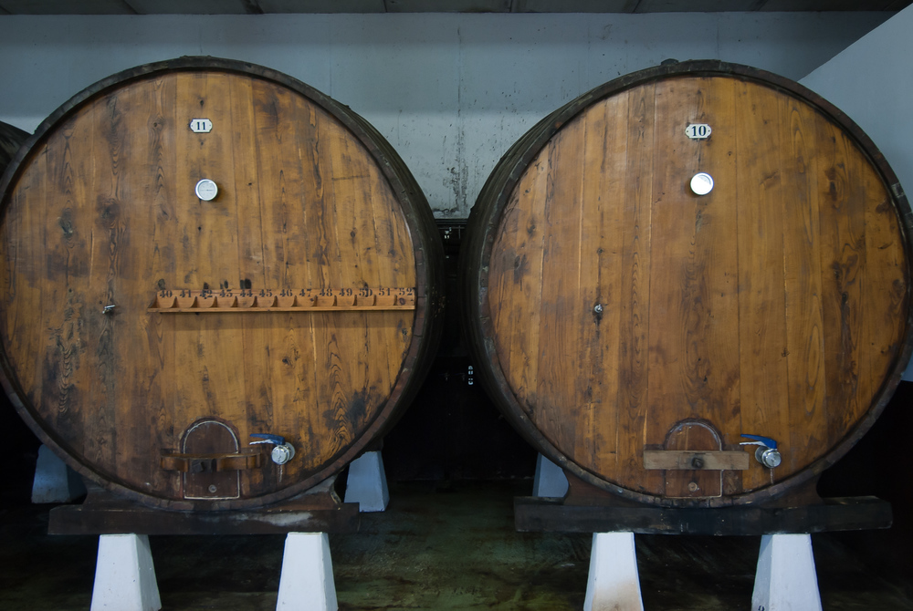 Cider barrels at a cideria in the Bosque Country of Spain