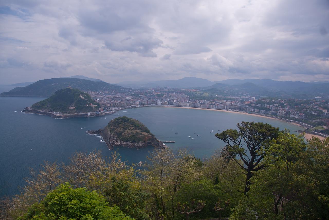 San Sebastián and Kontxa bay from Igeldo mountain in San Sebastian, Spain