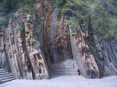 Unique rock wall formation in San Sebastian, Spain