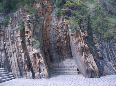 Unique rock wall formation in San Sebastian, Spain
