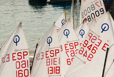 Sails on boats on harbor at the port of San Sebastian in Spain