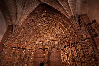 Facade of the Church of Santa Maria in Laguardia, Basque Country, Spain