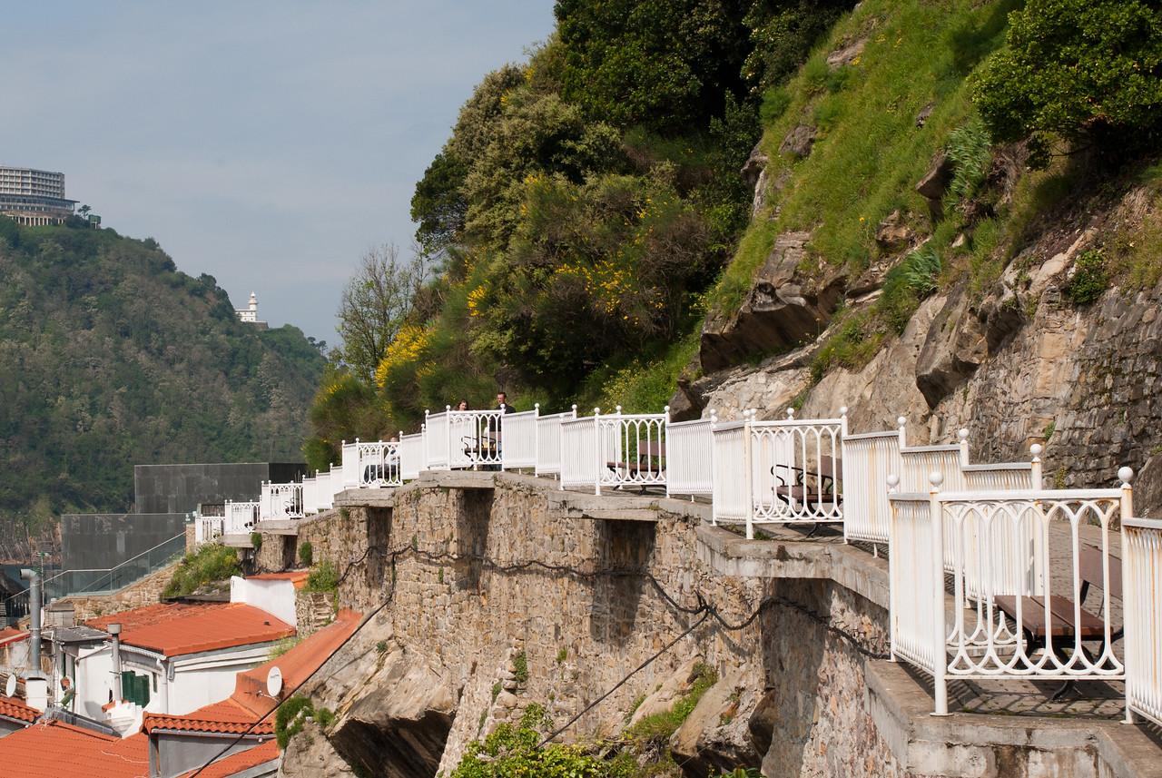 Pathwalk with railings near the port in San Sebastian, Spain