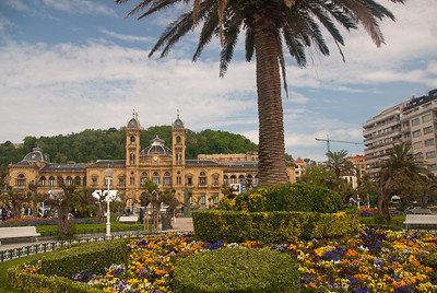 Wide shot of the City Hall of Donostia-San Sebastian in Basque Country, Spain