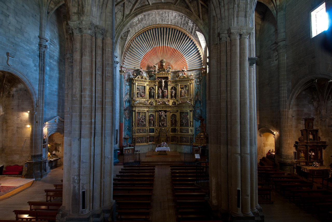 View of the altar through pillars inside the Church of Santa Maria in Laguardia, Basque Country, Spain