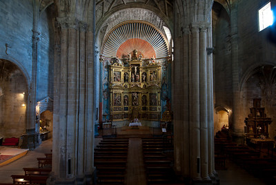 View of the altar through pillars inside the Church of Santa Maria in Laguardia, Basque Country, Spain