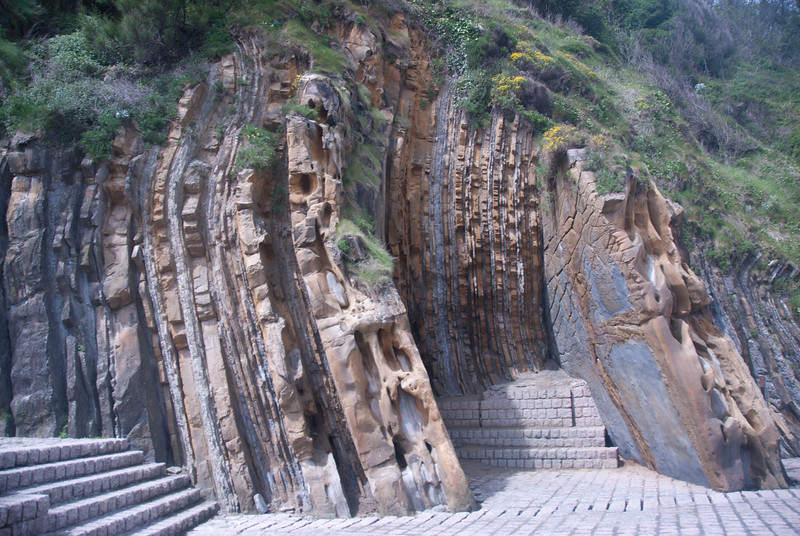 Unique rock formation in San Sebastian, Spain
