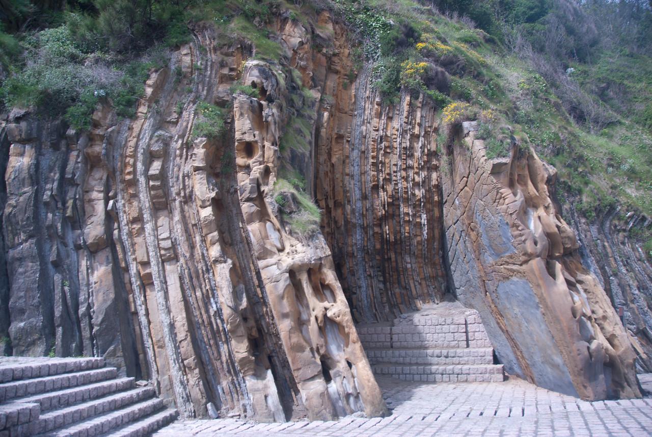 Unique rock formation in San Sebastian, Spain
