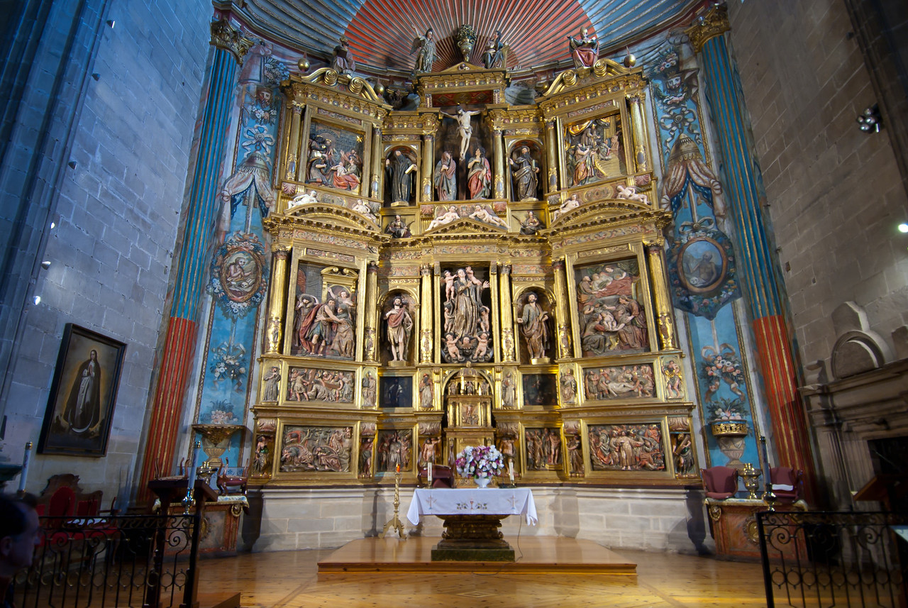 The altar inside the Church of Santa Maria in Laguardia, Basque Country, Spain