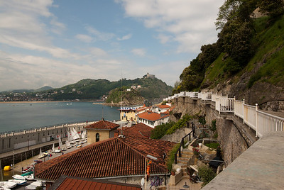 View of the port from the walking path in San Sebastian, Spain