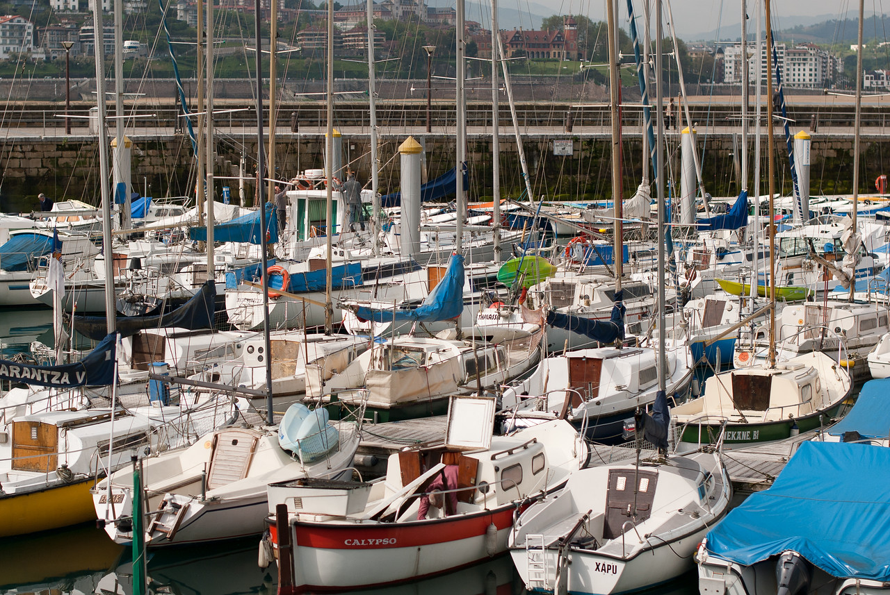 Sail boats on the port of San Sebastian in Spain