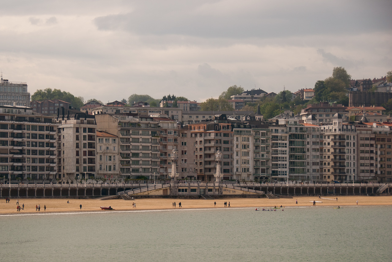 The promenade in San Sebastian Beach in Spain