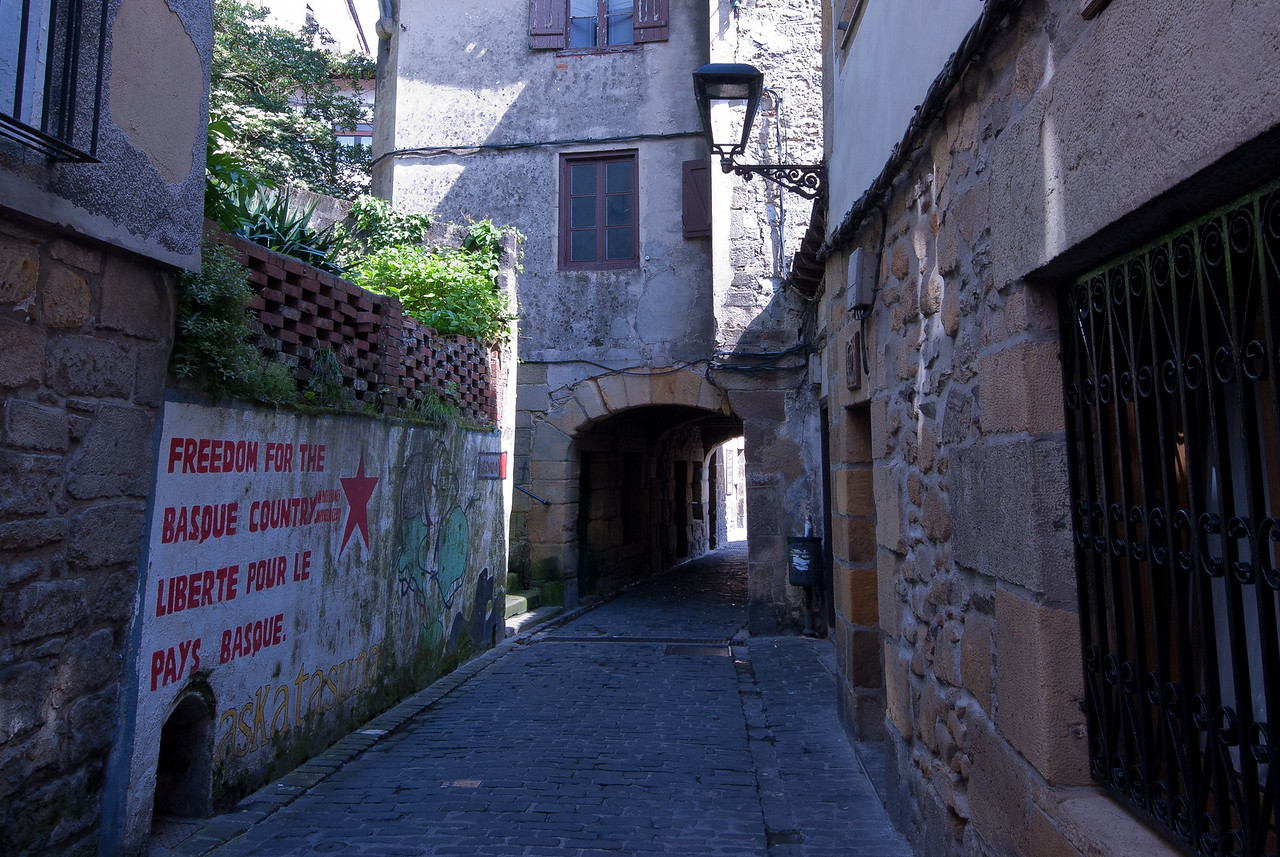 Walking into a small side street in Basque Country, Spain