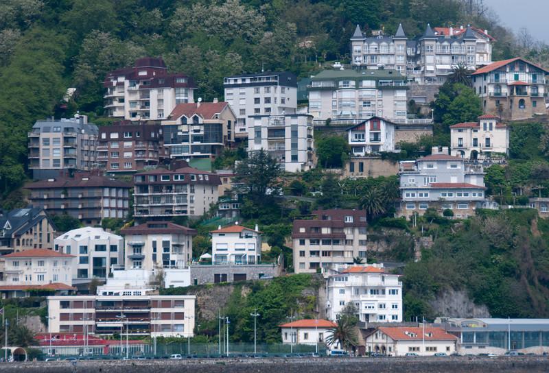 Buildings on a cliff in San Sebastian, Spain