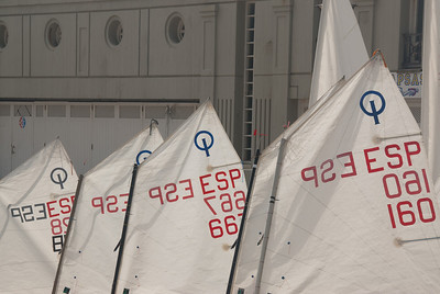 Sails on boats on harbour at the port in San Sebastian, Spain